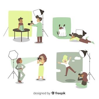 Flat design photographers working indoors