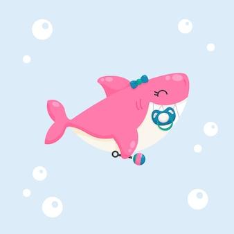 フラットなデザインのピンクの赤ちゃんサメ