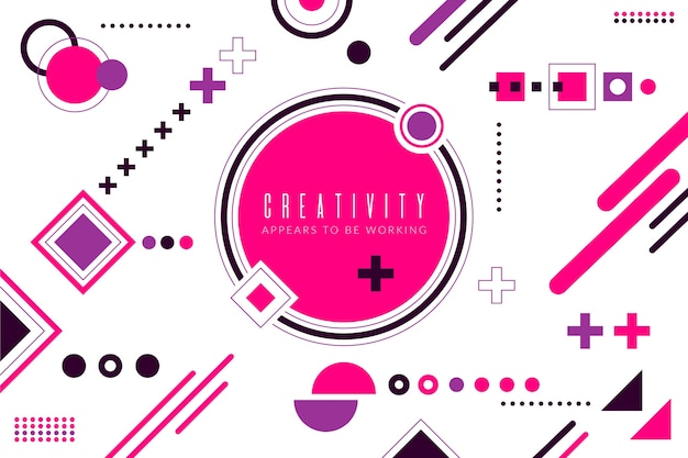Flat design pink geometric shapes background