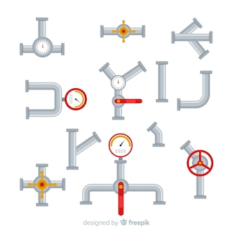 Flat design pipes with gauges collection
