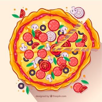 Плоский дизайн пиццы фона