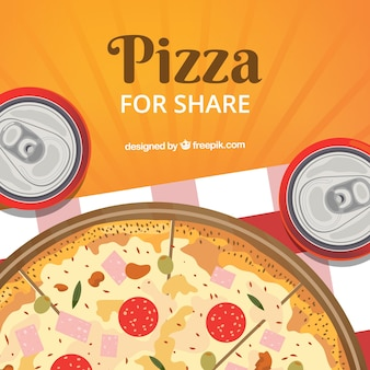 Flat design pizza & drinks background