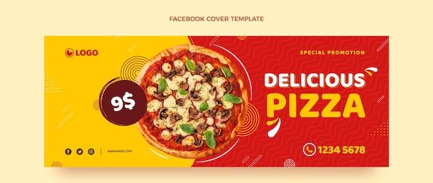 평면 디자인 피자 페이스 북 커버