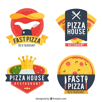 Flat design pizza logo collection