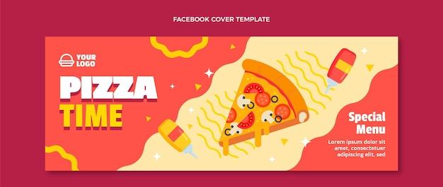 フラットデザインピザタイムフェイスブックカバー
