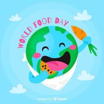 Flat design planet earth eating a watermelon