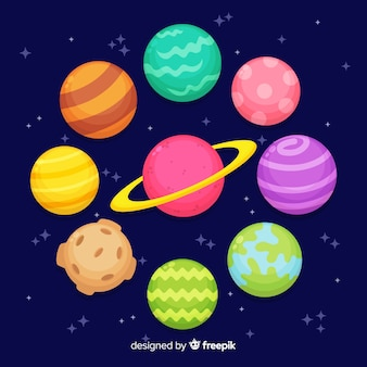 Плоский дизайн коллекции планет