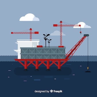Flat design platform marine engineering concept