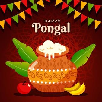 Flat design pongal festival