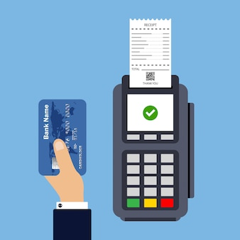 Flat design of pos terminal with receipt. payment by credit card.
