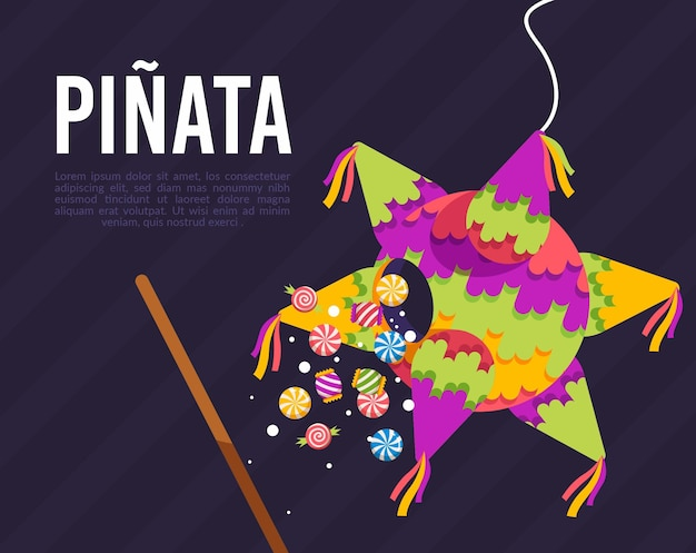 Flat design posada pinata with candies