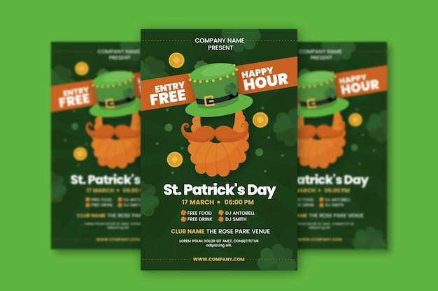 Flat design poster for st. patrick's day template