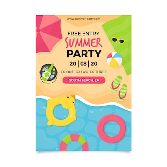Flat design poster summer party