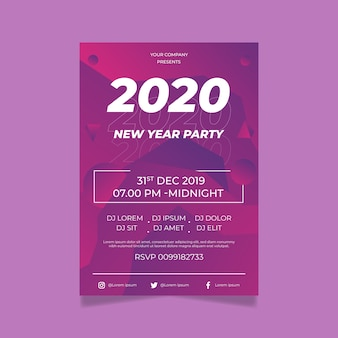 Flat design poster template design new year 2020 party