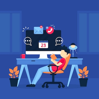 Flat design postponed concept with man and desktop