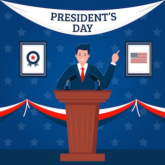 Flat design president's day event promo illustrated