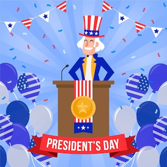 Flat design for president's day event