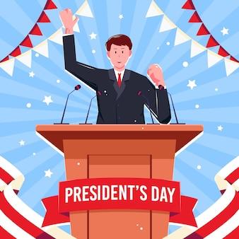 フラットデザインの大統領の日が描かれています