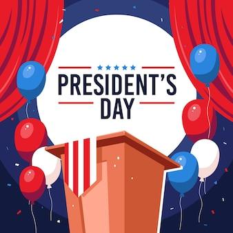 フラットデザインの大統領の日が描かれています Premiumベクター