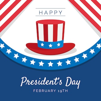 Flat design president's day with hat