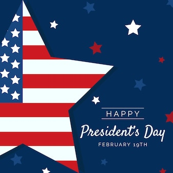 Flat design president's day with little stars