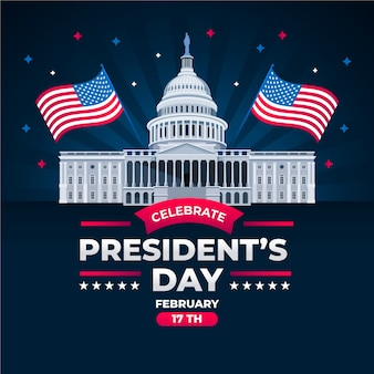 Flat design presidents day event theme