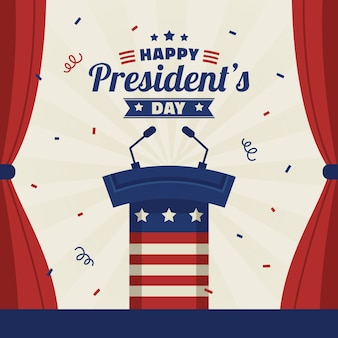 Flat design presidents day