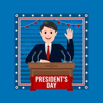 День президентов в плоском дизайне