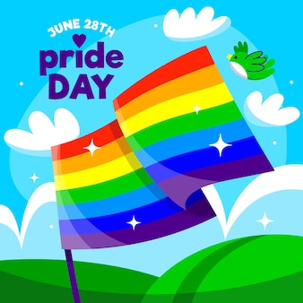 Плоский дизайн флаг гордости день