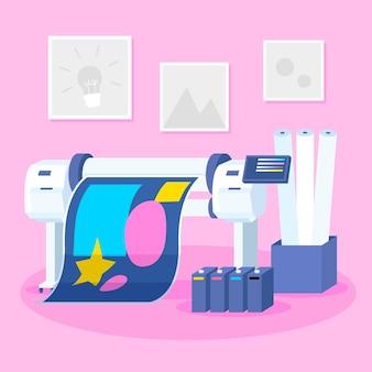 평면 디자인 인쇄 산업 일러스트