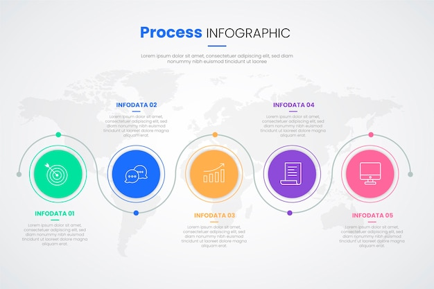 Flat design process infographic template