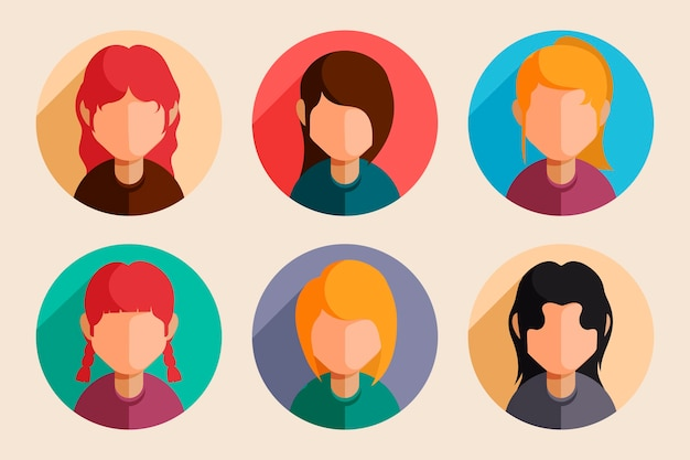 Flat design profile icons pack