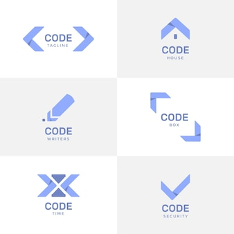 Flat design programming company logo templates