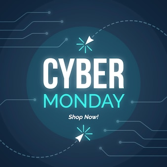 Flat design promo banner cyber monday template