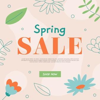 Flat design promotional spring sale concept