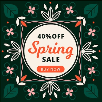 Flat design promotional spring sale design
