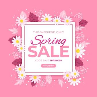 Flat design promotional spring sale theme