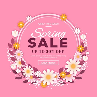 Flat design promotional spring sale
