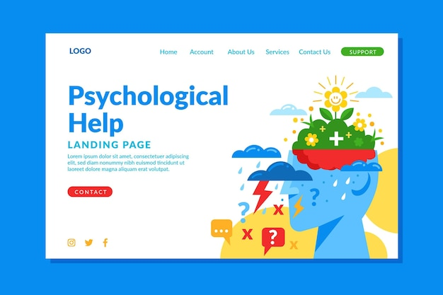 Flat design psychological help landing page template