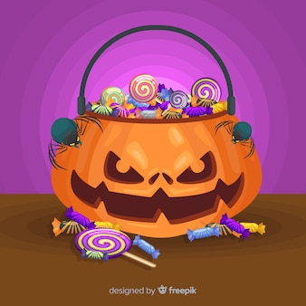 Flat design of pumpkin halloween bag
