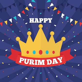 Flat design purim day and golden crown with ribbon