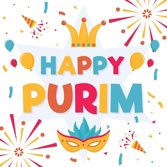 Flat design purim day with fireworks
