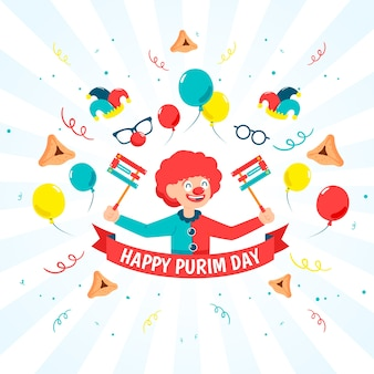 Flat design purim day with funny clown