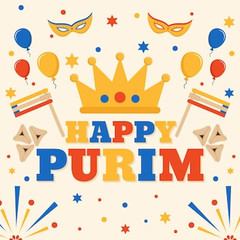 Flat design purim day with golden crown and flags