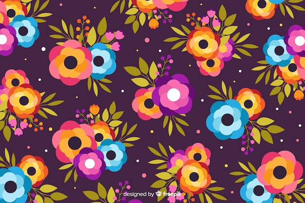Flat design purple floral background