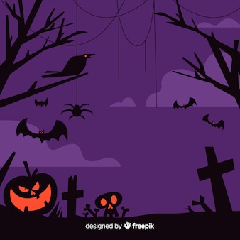 Flat design of purple halloween frame