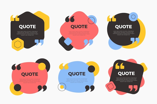 Коллекция рамок для цитат в плоском дизайне