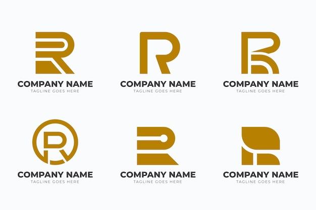 フラットデザインrロゴテンプレートコレクション