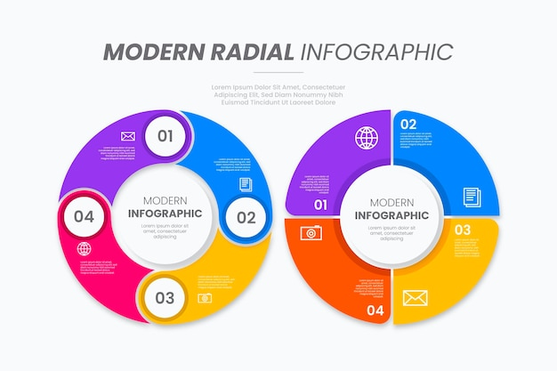 Flat design radial infographic collection