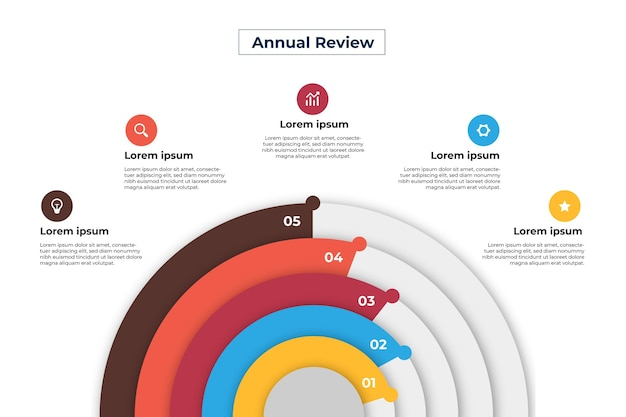 Flat design radial infographic template